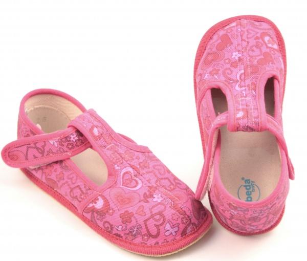 Barefoot papuče růžové srdce užší a216e208b1