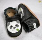 Kožené capáčky baBice - Panda s podlepením