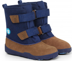 Zimní boty Affenzahn Minimal Highboot Leather - Bear/Dark Blue/Brown