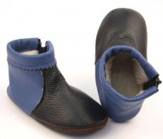 Zvětšit Zateplené kožené capáčky modrá/černá